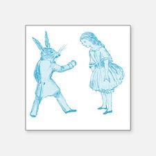"""Alice and the White Rabbit Square Sticker 3"""" x 3"""""""