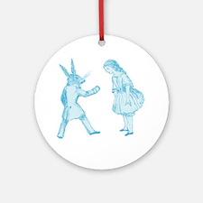 Alice and the White Rabbit Round Ornament