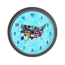 USA State Flags Map Wall Clock