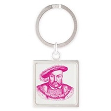Pink Henry the Eighth VIII Square Keychain