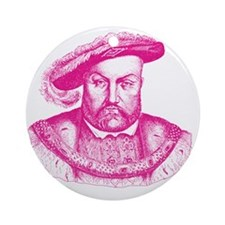 Pink Henry the Eighth VIII Round Ornament