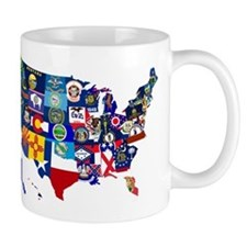 USA State Flags Map Mugs