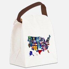 USA State Flags Map Canvas Lunch Bag