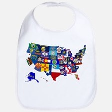 USA State Flags Map Bib