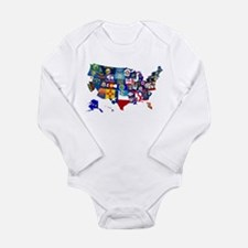 USA State Flags Map Body Suit