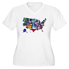 USA State Flags Map Plus Size T-Shirt