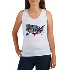 USA State Flags Map Tank Top