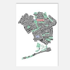 Queens New York Map Typography Postcards (Package