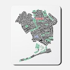Queens New York Map Typography Mousepad