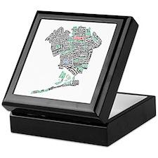 Queens New York Map Typography Keepsake Box