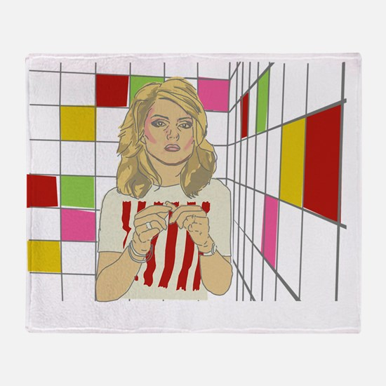 Debbie with coloured blocks Throw Blanket