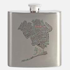 Queens New York Map Typography Flask