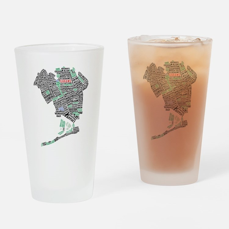 Queens New York Map Typography Drinking Glass