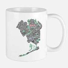 Queens New York Map Typography Mugs