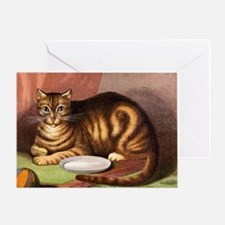 Relaxing striped cat with food dish Greeting Card