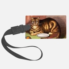 Relaxing striped cat with food d Luggage Tag