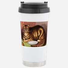 Relaxing striped cat with food  Stainless Steel Tr