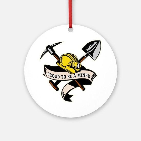 coal miner hat shovel spade pickax  Round Ornament