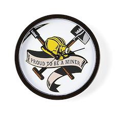 coal miner hat shovel spade pickax mini Wall Clock