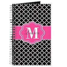 Pink Black Quatrefoil Personalized Journal