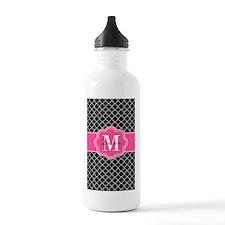 Pink Black Quatrefoil Personalized Water Bottle