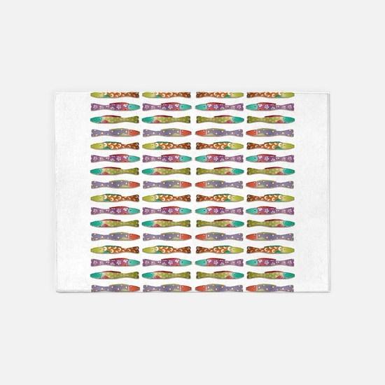 Retro fish 5'x7'Area Rug
