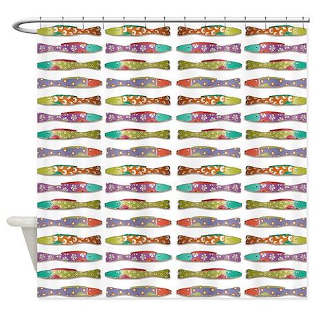 retro fish shower curtain