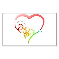 Haley rainbow heart Rectangle Decal