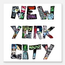 "New York City Street Art Square Car Magnet 3"" x 3"""