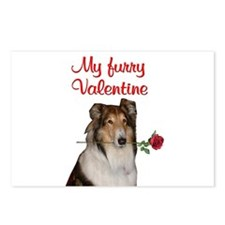 Furry Valentine Collie Postcards (Package of 8)