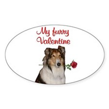 Furry Valentine Collie Oval Decal