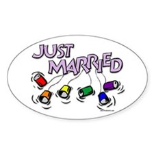 Just Married Gay Rights Oval Decal