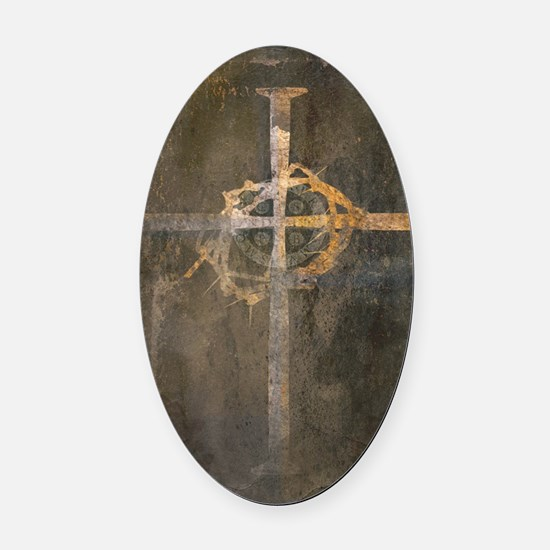 """Crux"" Cross Oval Car Magnet"