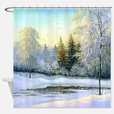 Beautiful Winter Painting Shower Curtain