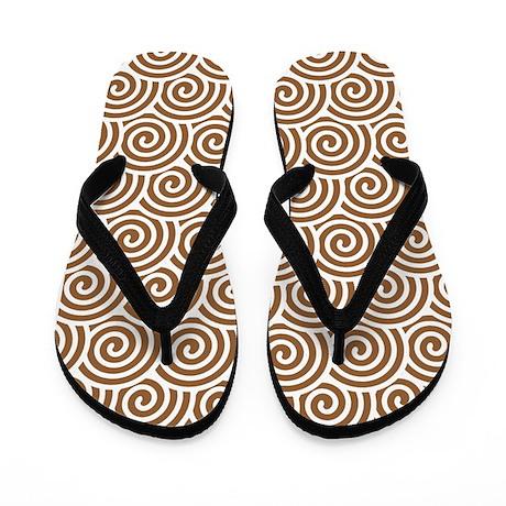 Brown Swirls Flip Flops