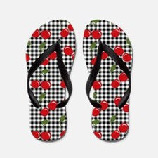 Retro Cherry Gingham Flip Flops