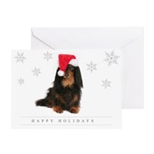Cute Dachshund and santa Greeting Card