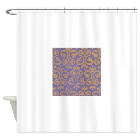 Yellow And Purple Grunge Damask Shower Curtain By Admin CP49789583