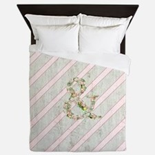 Romantic Floral Ampersand Pink Stripes Queen Duvet