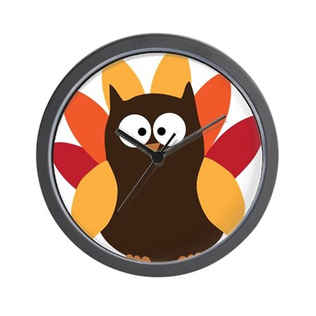 Thanksgiving Owl Wall Clock