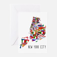 New York City Ethnic Map Greeting Cards