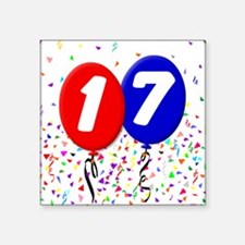 "17th Birthday Square Sticker 3"" x 3"""
