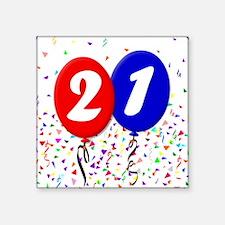 "21st Birthday Square Sticker 3"" x 3"""