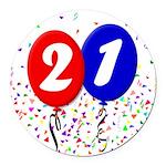 21st Birthday Round Car Magnet