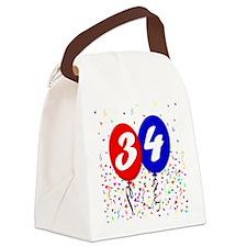 34th Birthday Canvas Lunch Bag