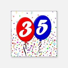 "35th Birthday Square Sticker 3"" x 3"""