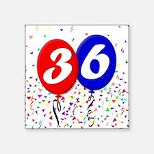 "36th Birthday Square Sticker 3"" x 3"""