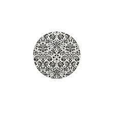 Black and white damask pattern Mini Button