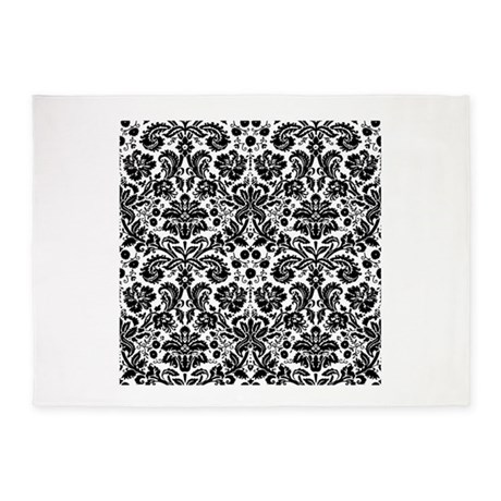 black and white damask pattern 5x7area