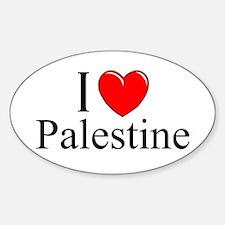 """I Love Palestine"" Oval Decal"